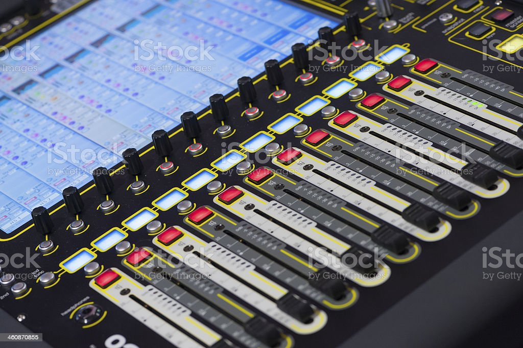 Sound mixing console in recording studio stock photo