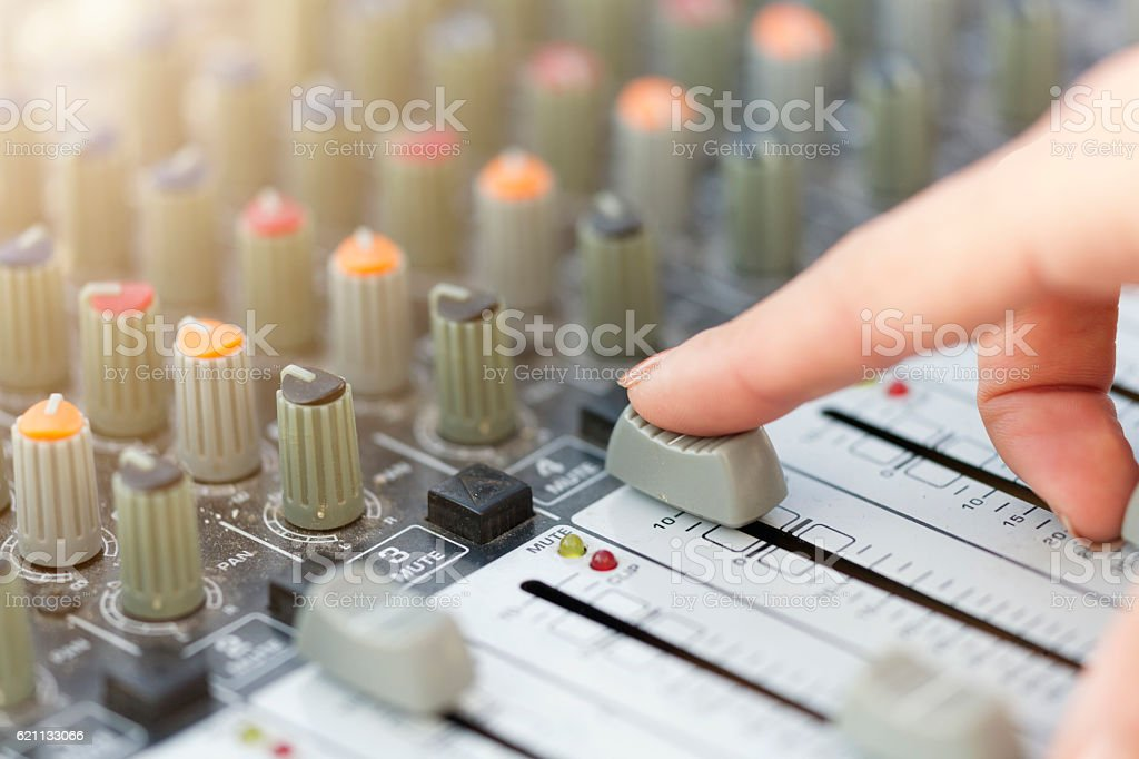 Sound Mixing with Woman Hand stock photo