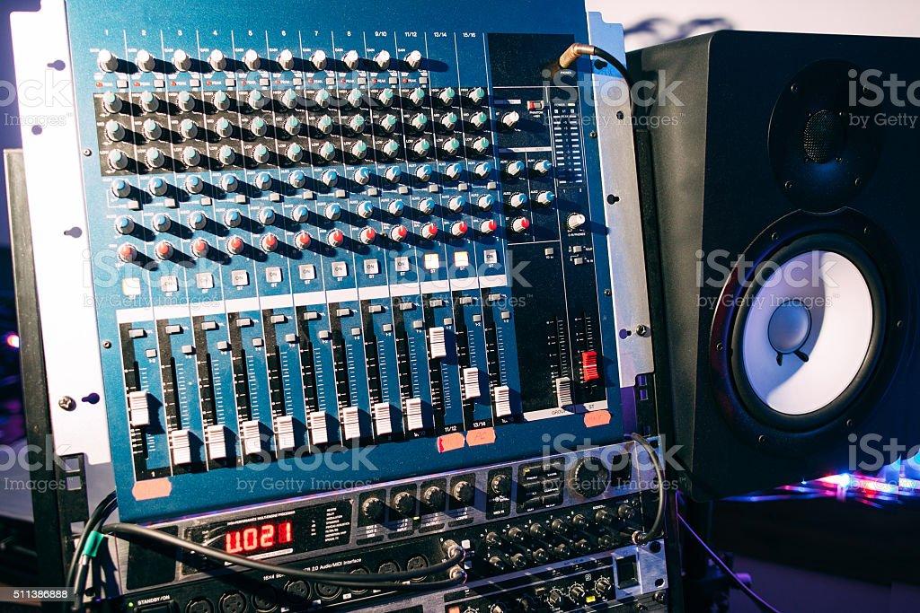 Sound producer audio controller. Dj studio system stock photo