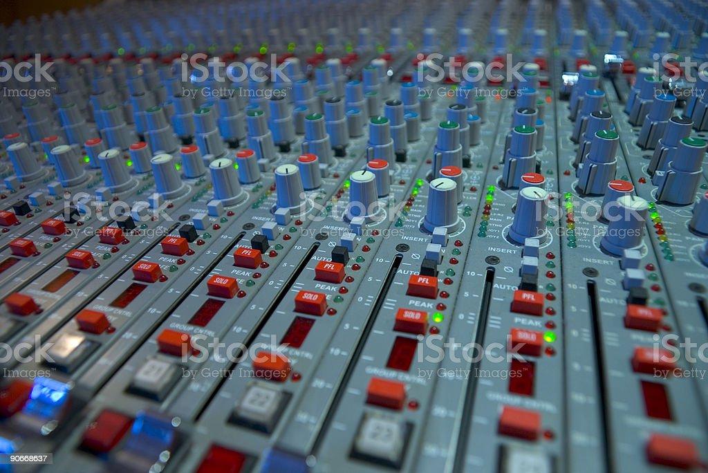 Sound Recording Equipment Analogue Audio Mixer Studio royalty-free stock photo