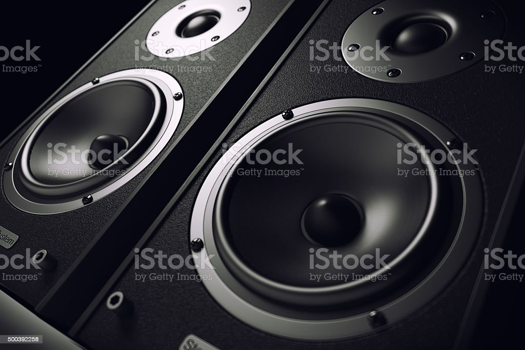 Sound speakers close-up. Audio stereo system stock photo
