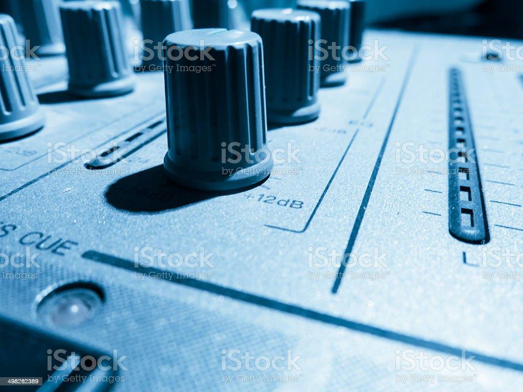 sound studio adjusting record equipment stock photo