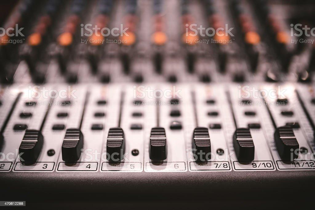 Sound studio recording equipment, music mixer controls at concert, party stock photo