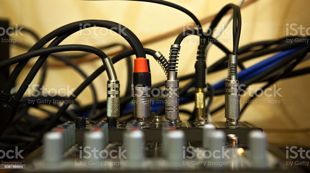 sound system with wires stock photo
