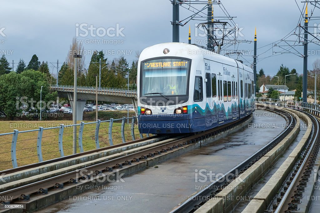 Sound Transit Link light rail approaching the Tukwila station stock photo