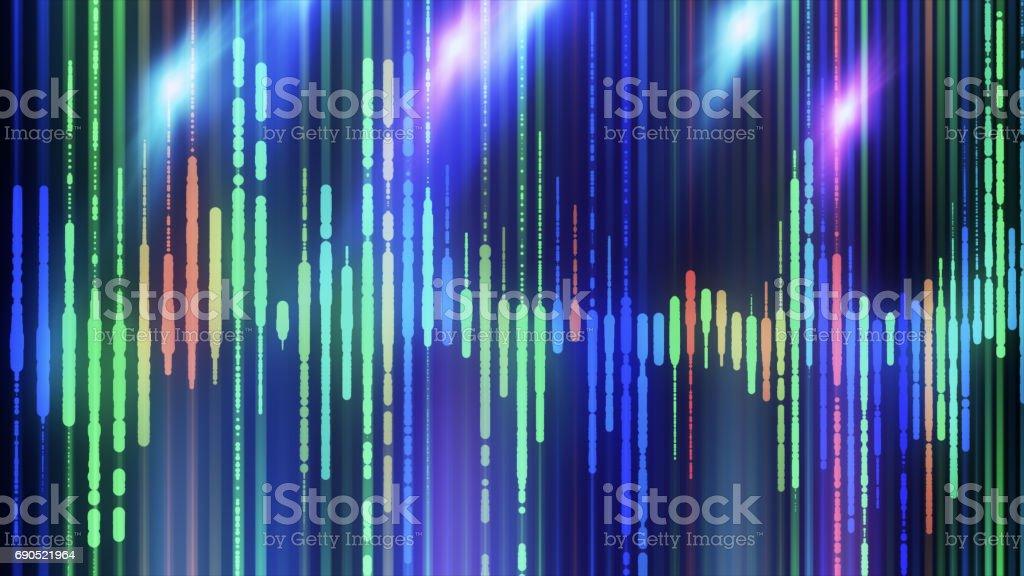 Sound waves colorful light audio signal design. stock photo