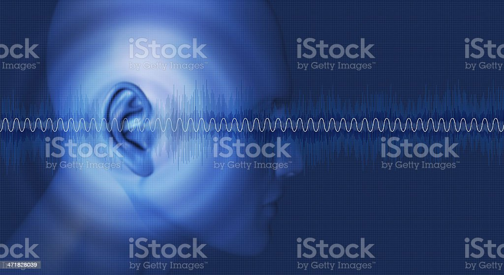 Sound waves, hearing, noise, waveforms, ear stock photo