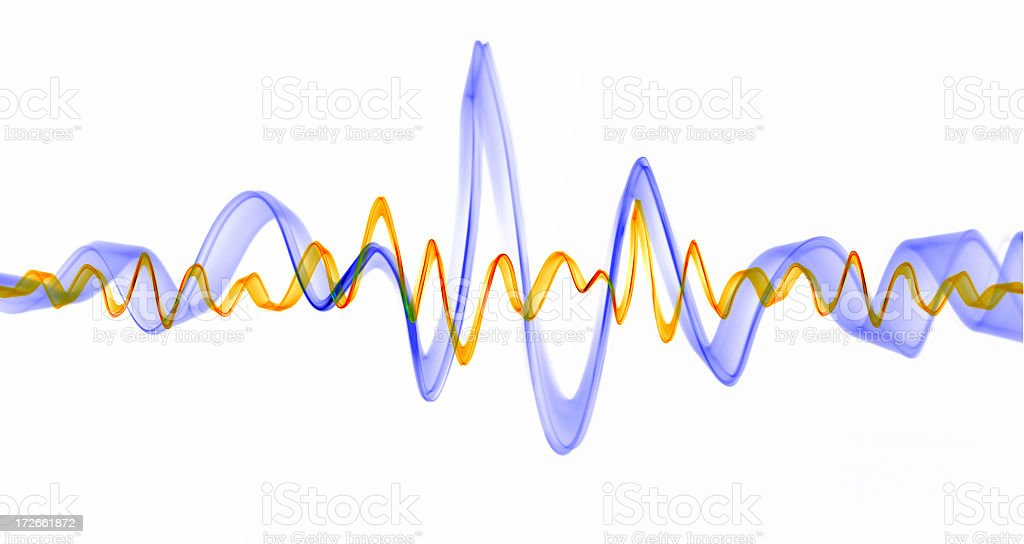Sound waves pulsating in lavender and gold stock photo