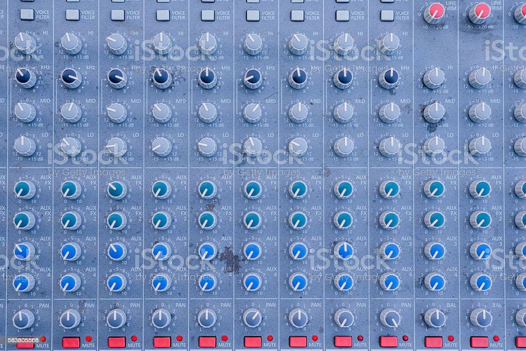 Soundboard close horizontal, closeup audio mixer stock photo