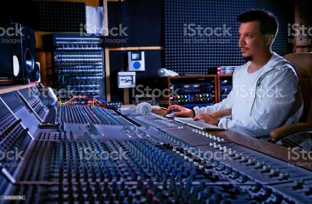 Soundman at his studio stock photo
