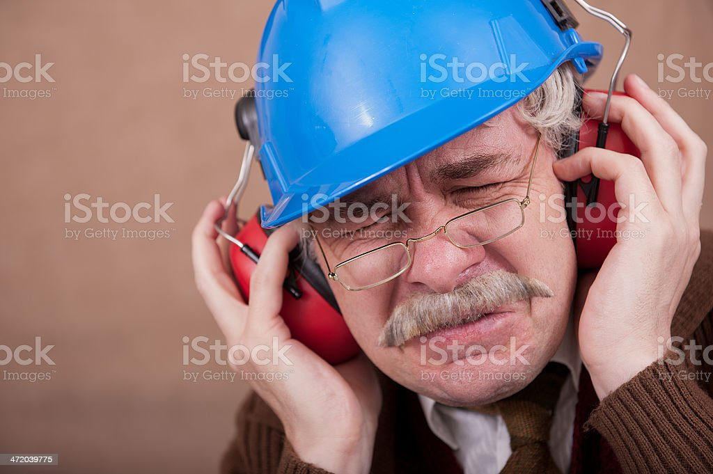 Soundproof Old Man stock photo