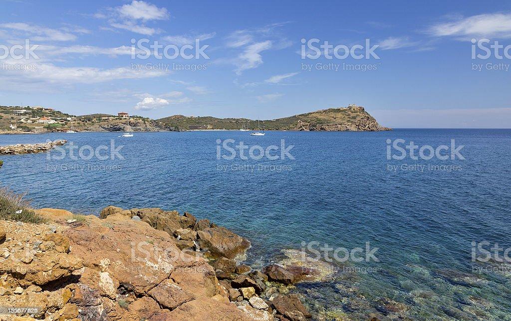 Sounio cape landscape, Attica, Greece stock photo