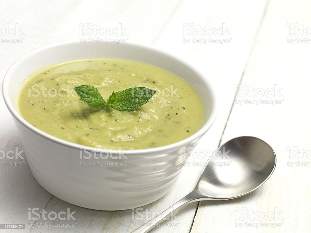 soup and basil stock photo