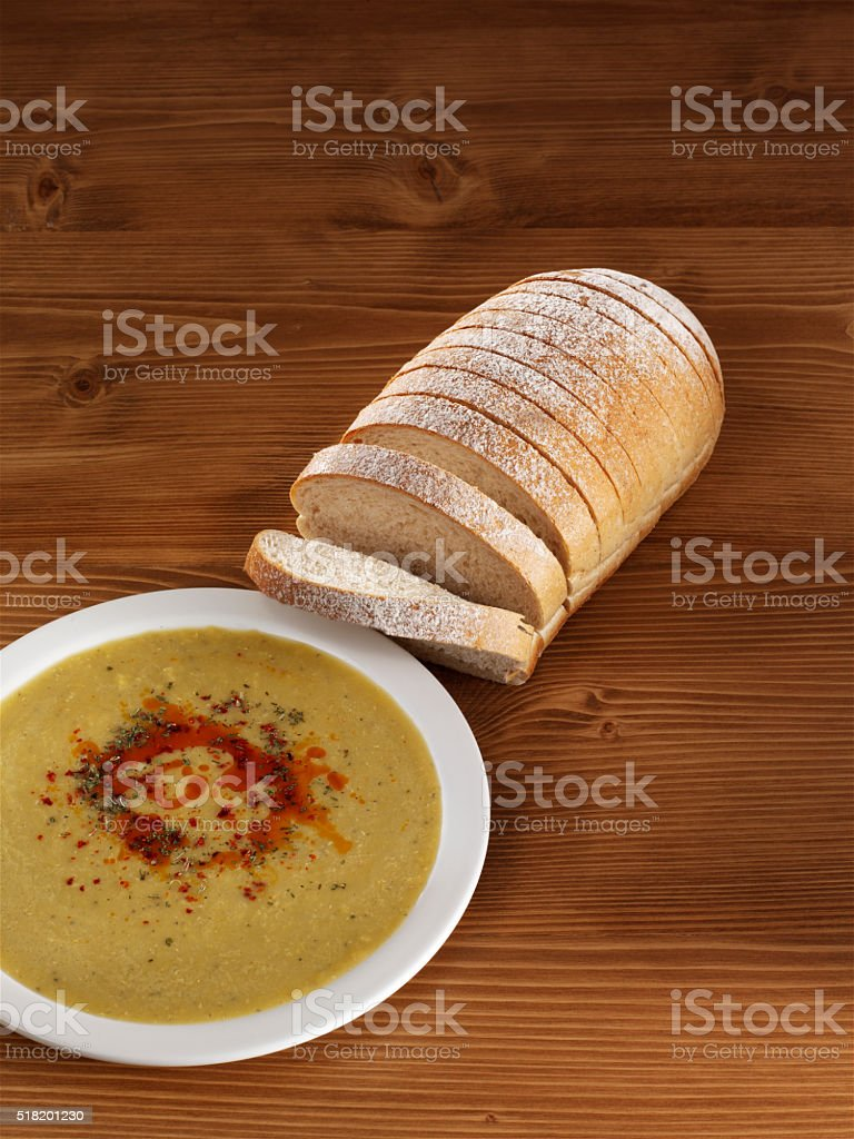 Soup and bread stock photo
