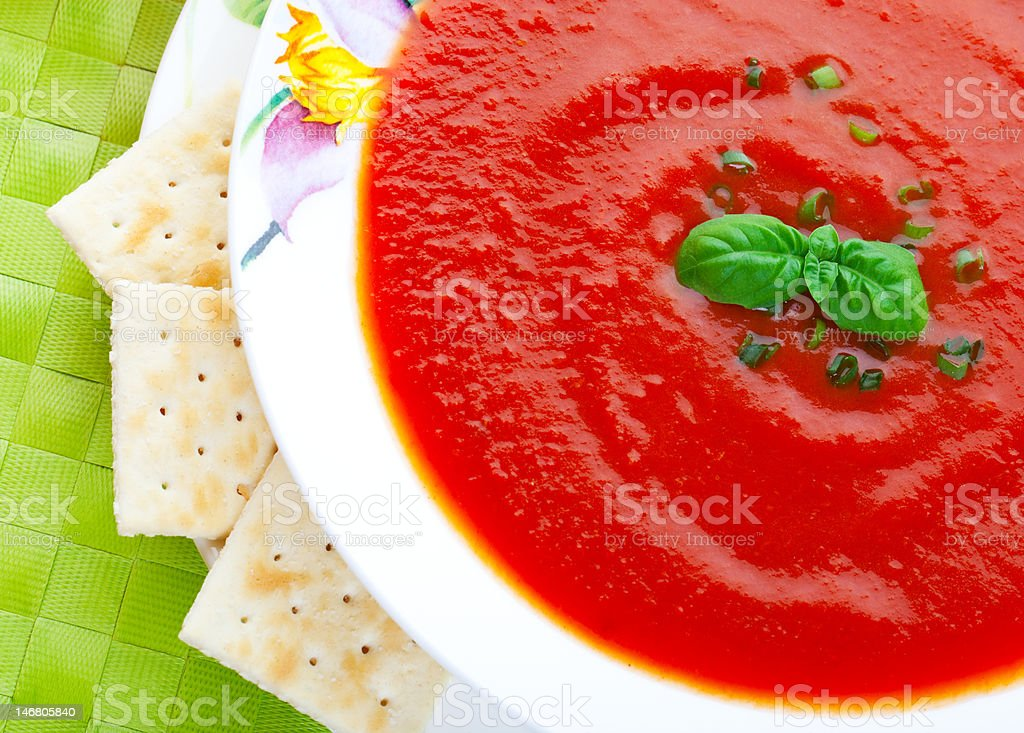 Soup and Crackers royalty-free stock photo