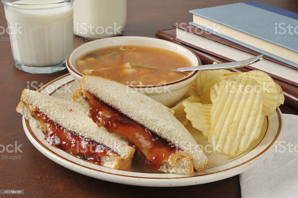Soup and sandwich after school stock photo