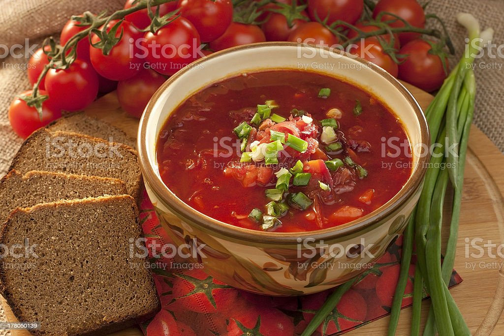 Soup borsch  with rye bread royalty-free stock photo