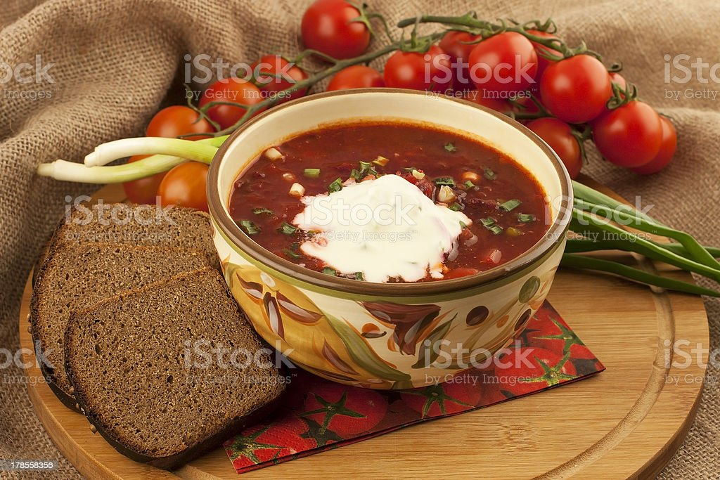 Soup borsch with sour cream royalty-free stock photo