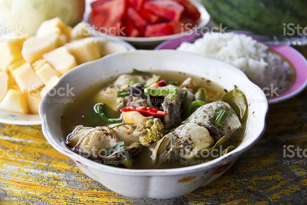 Soup fish and fruits royalty-free stock photo