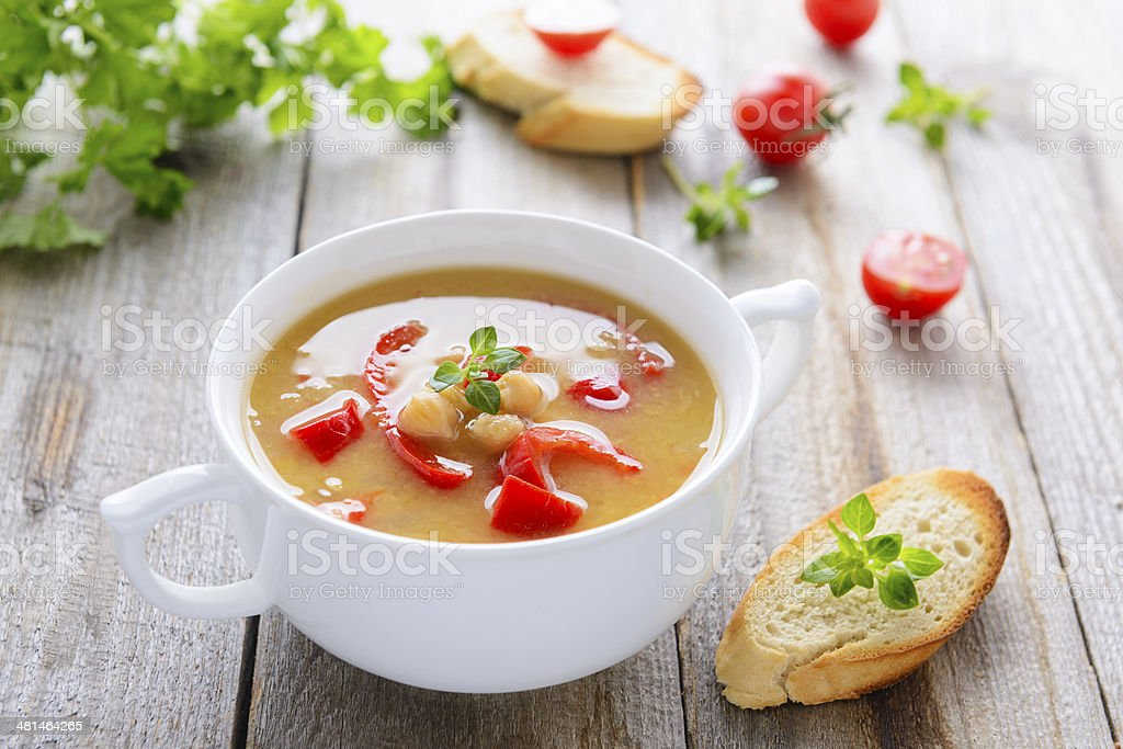 Soup from chickpeas and roasted vegetables stock photo