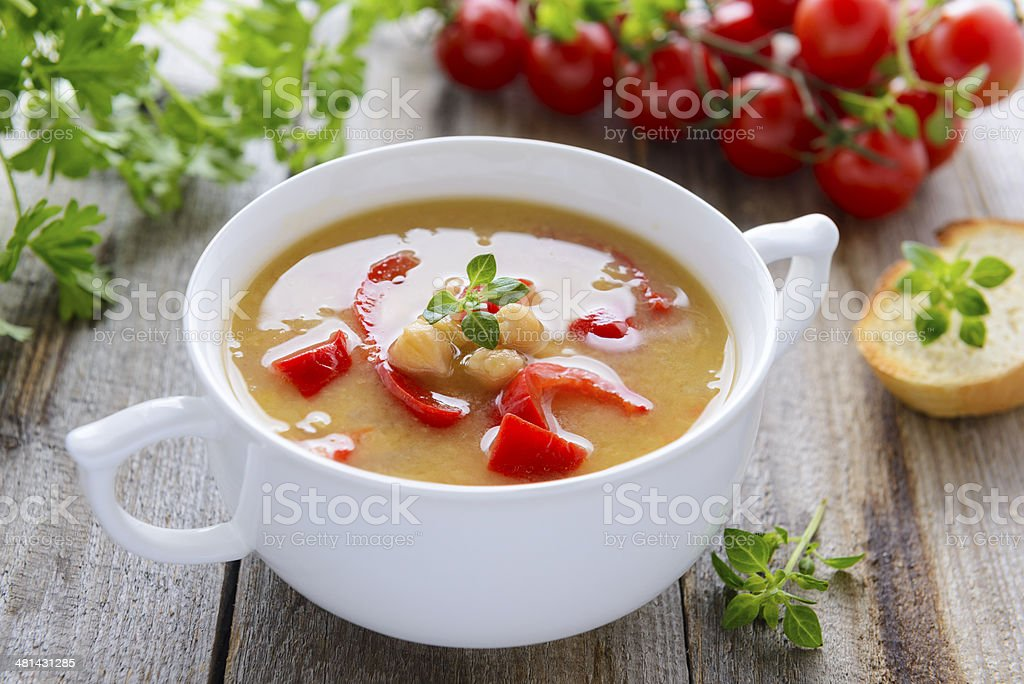 Soup from chick-peas and vegetables stock photo