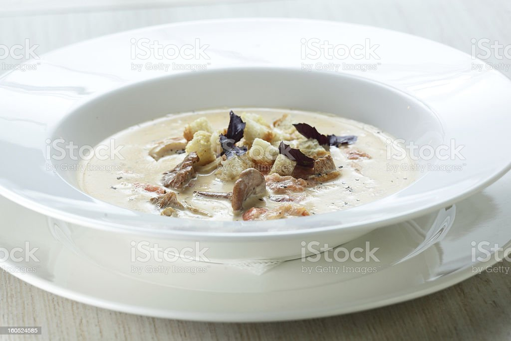 Soup in the white dish royalty-free stock photo