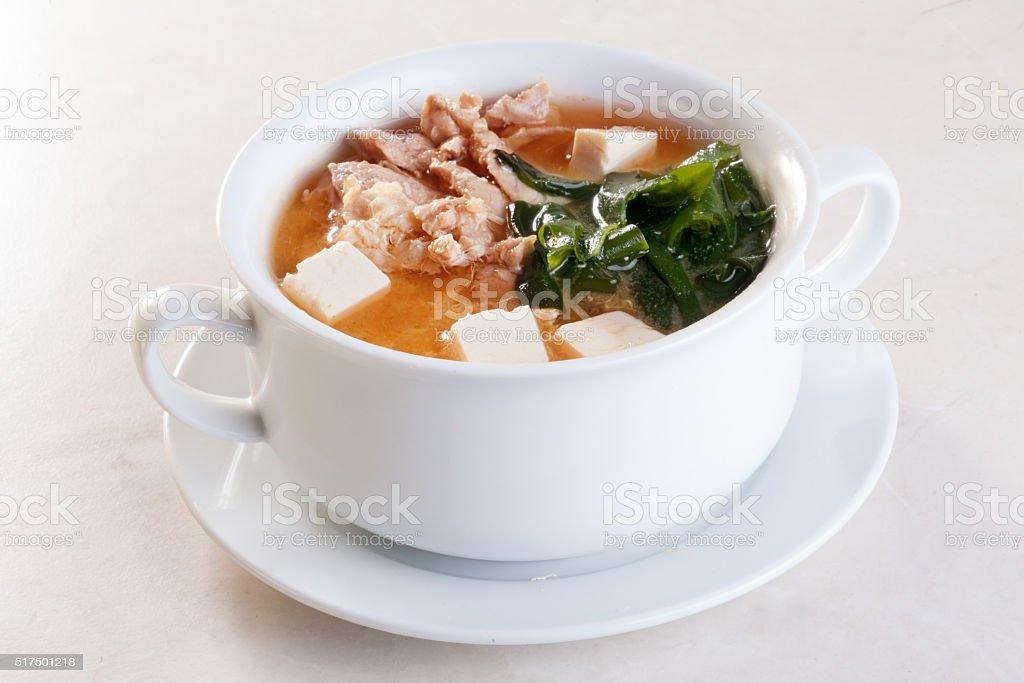 soup, kimchi, kim, chi miso nori, chicken, tofu tureen with stock photo