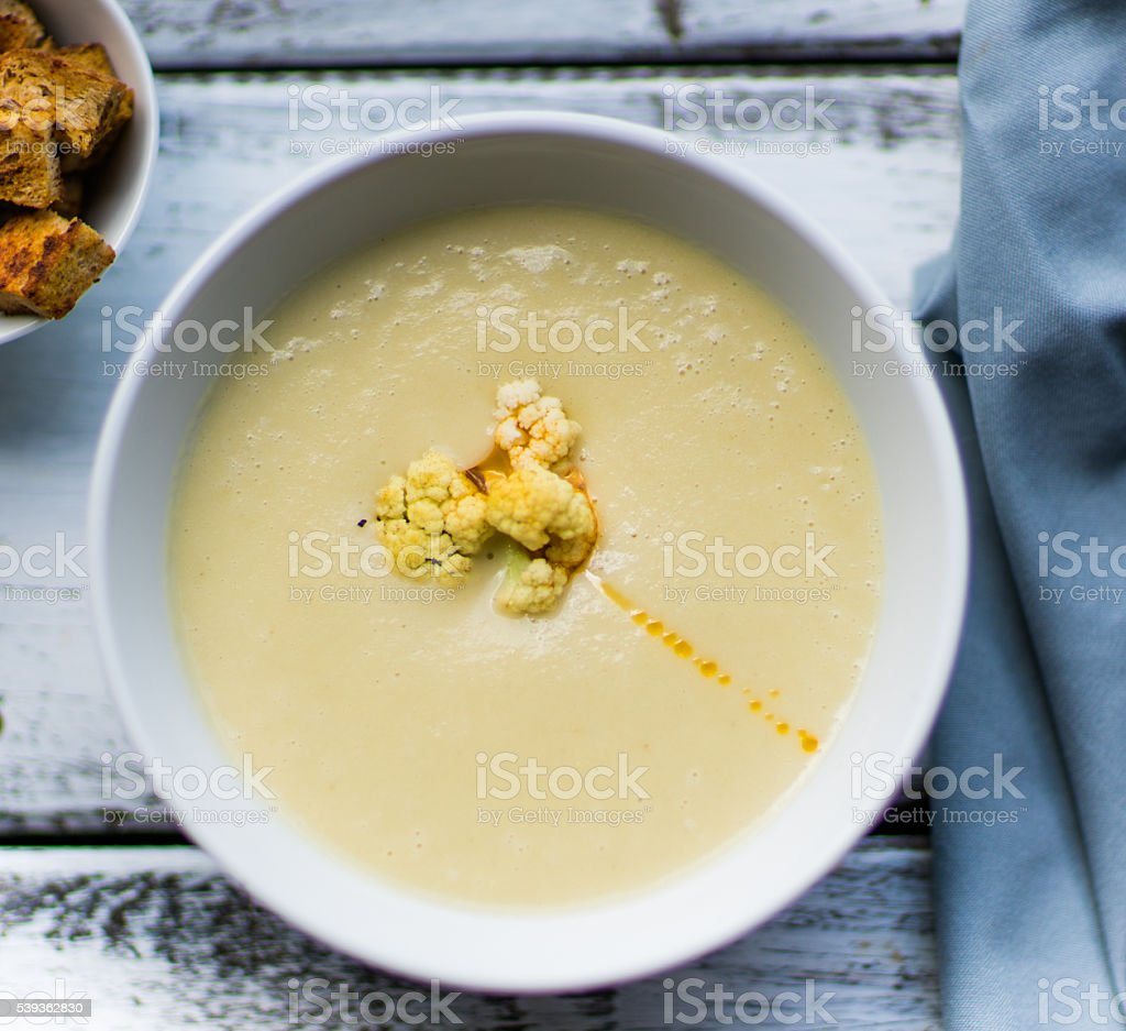 Soup of cauliflower stock photo
