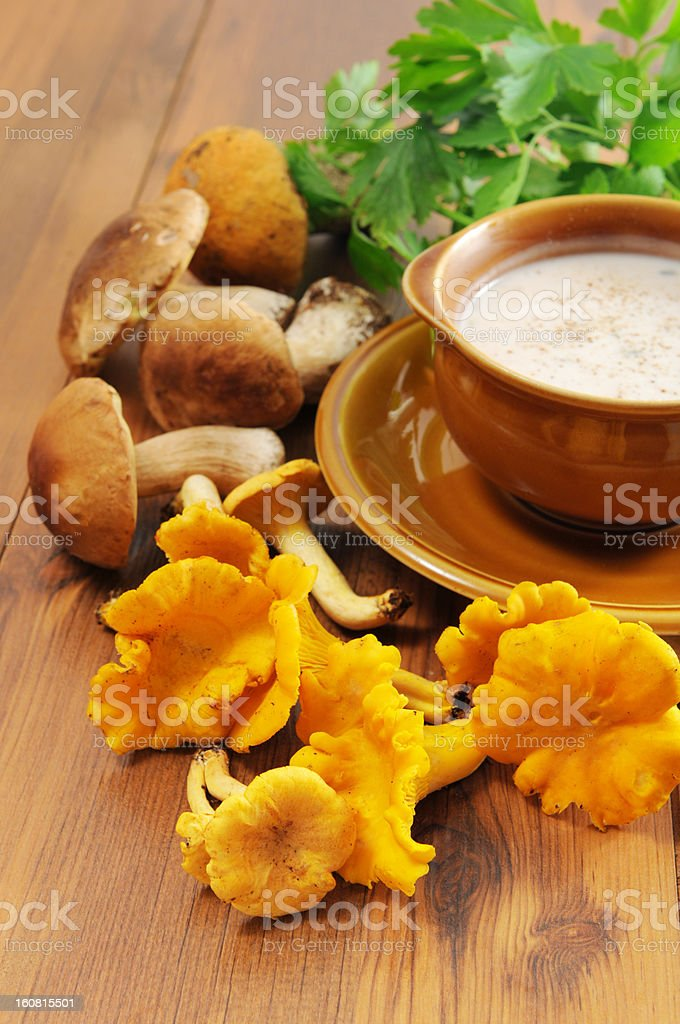 soup of golden chanterelle and cepe porcini mushroom - Pilzsuppe stock photo