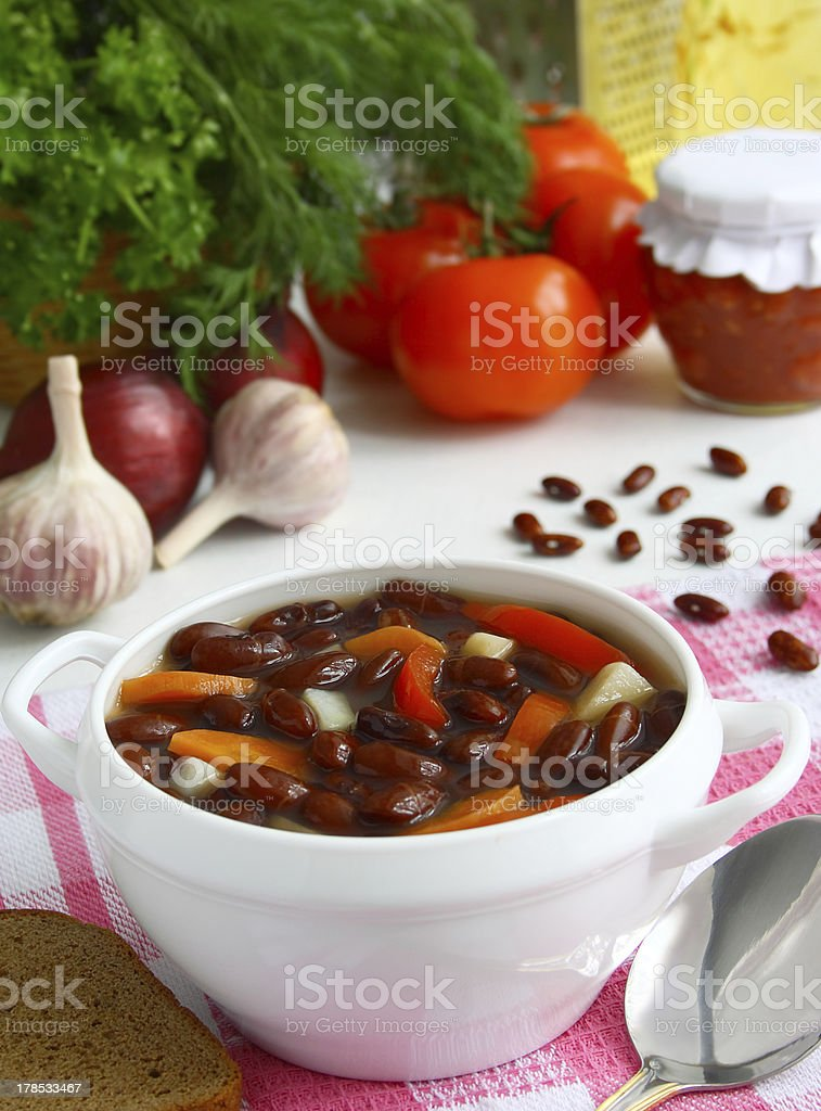 Soup of red beans royalty-free stock photo