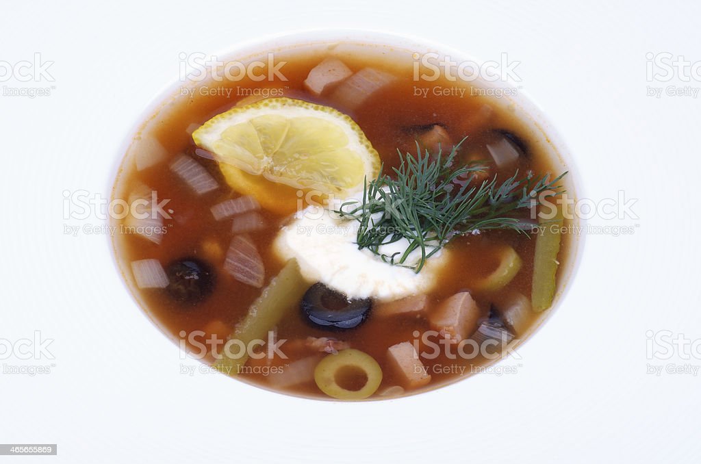 Soup Solyanka royalty-free stock photo