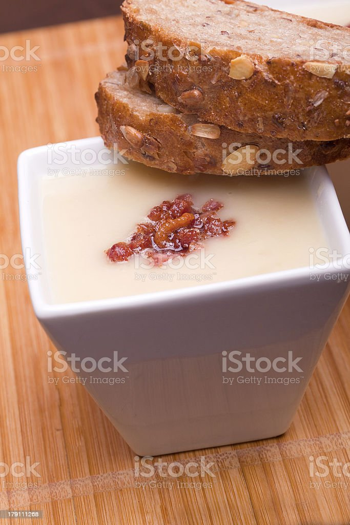 soup whith bacon and bread royalty-free stock photo