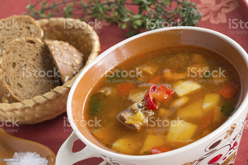 Soup with beans and vegetables. royalty-free stock photo