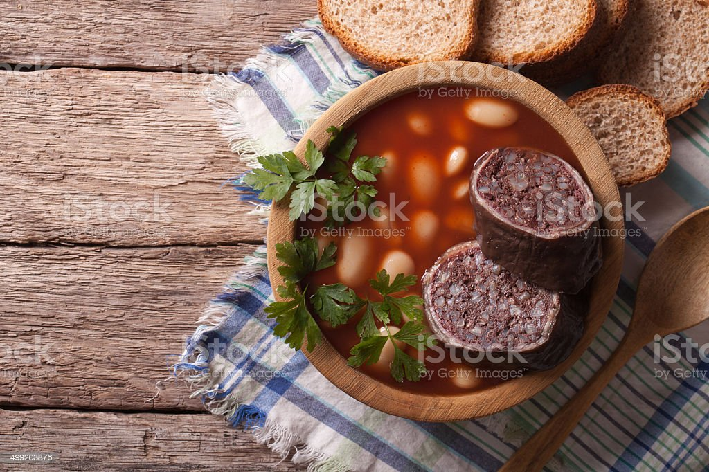 soup with black pudding Fabada asturiana horizontal top view stock photo