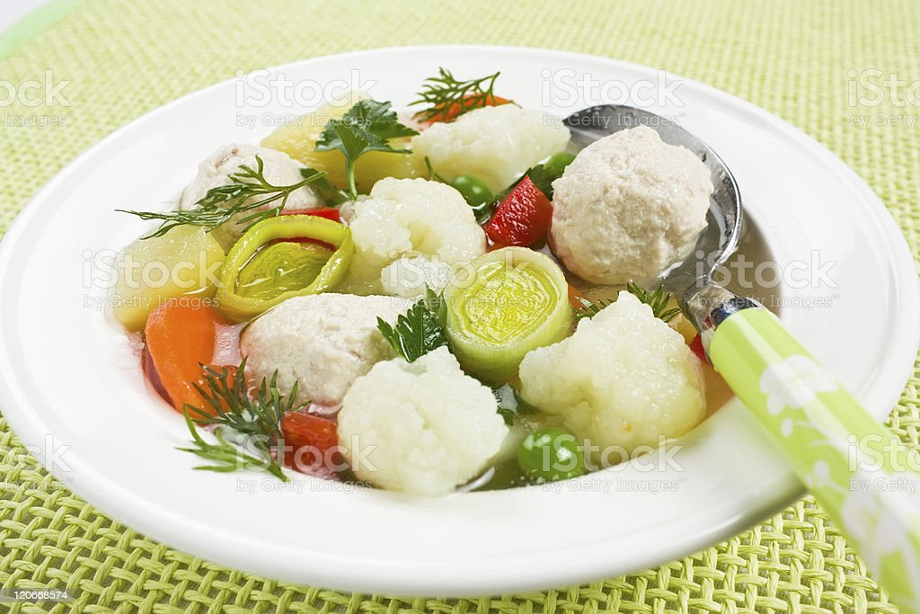 Soup with chicken meatballs and cauliflower royalty-free stock photo
