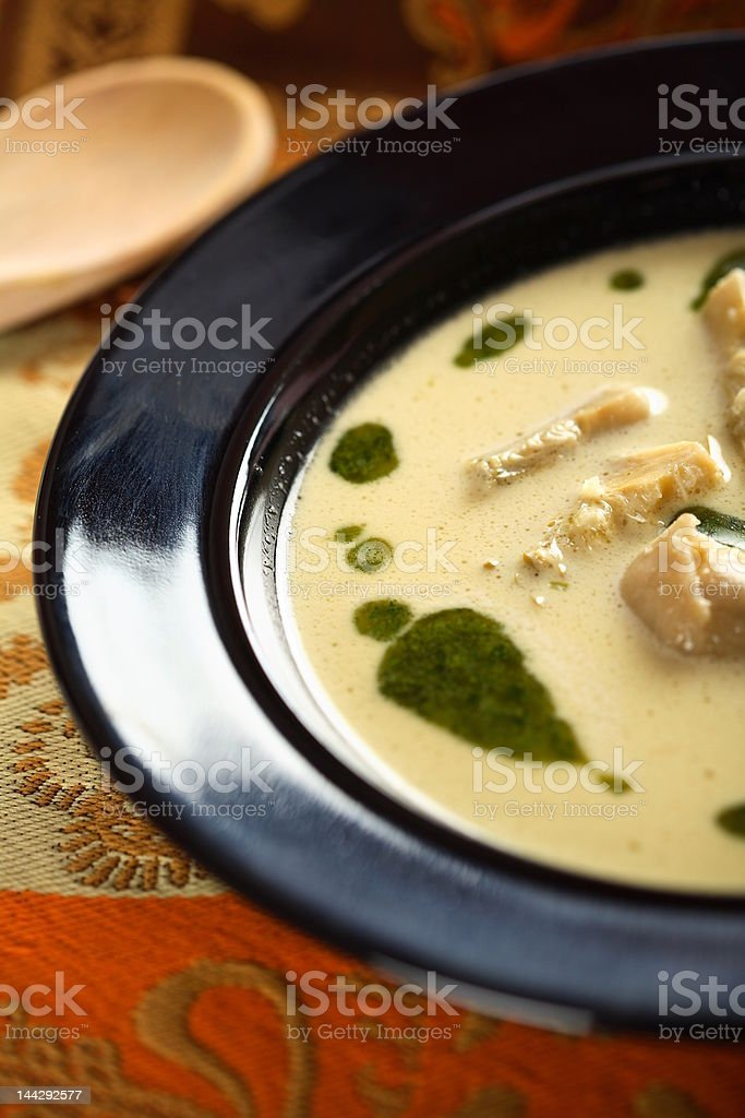 Soup with coriander and artichoke royalty-free stock photo