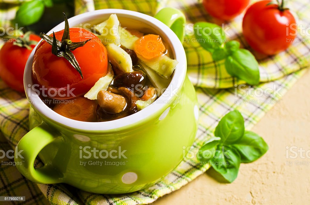 Soup with homemade pasta stock photo
