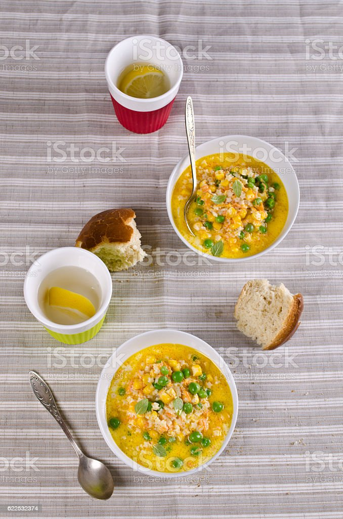 Soup with pasta stock photo