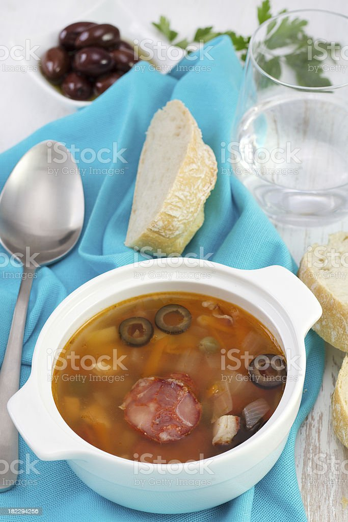 soup with saisages and olives royalty-free stock photo