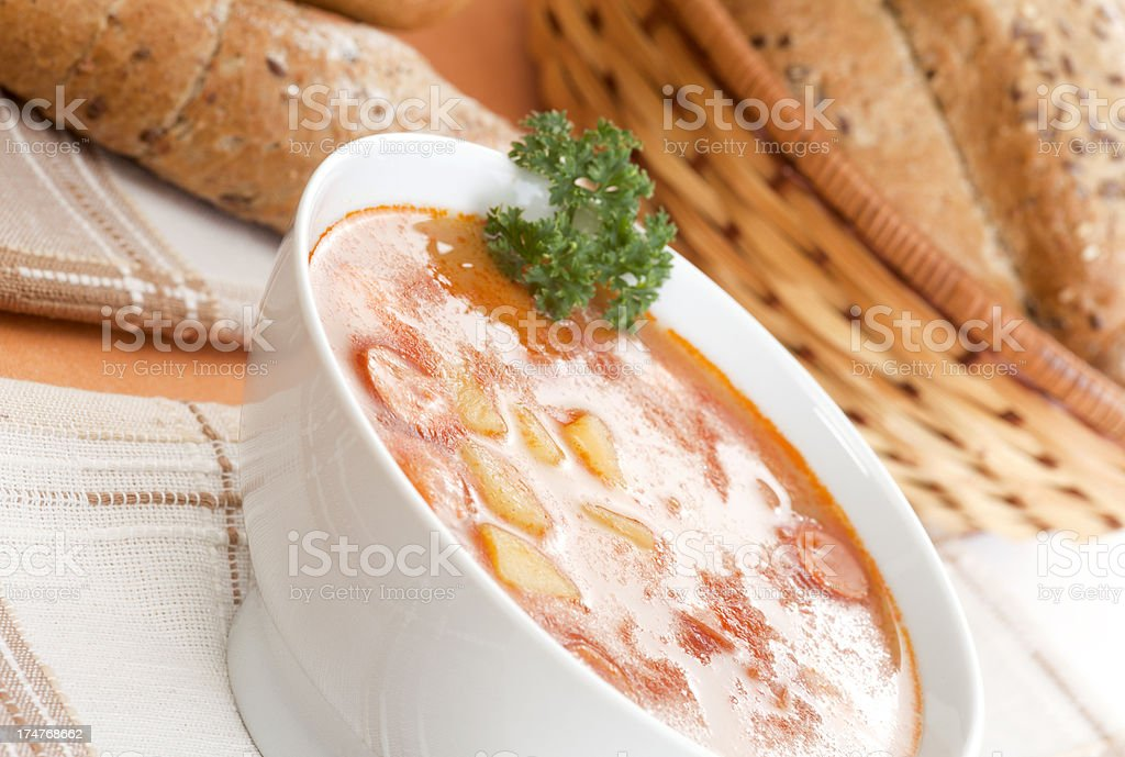 Soup with sausages royalty-free stock photo