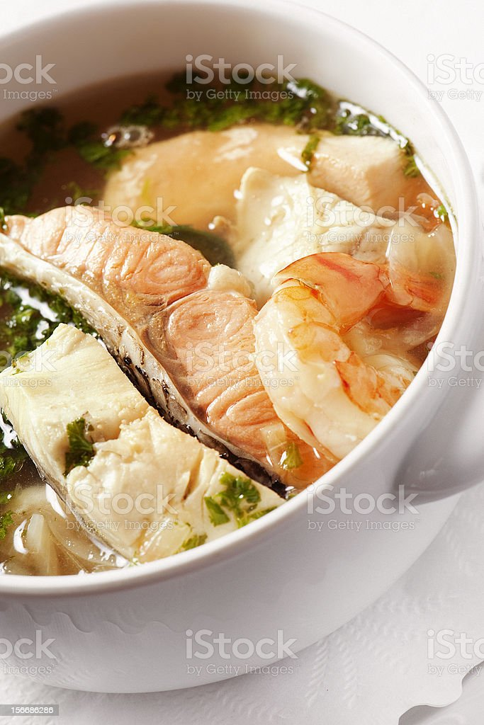 Soup with seafood royalty-free stock photo