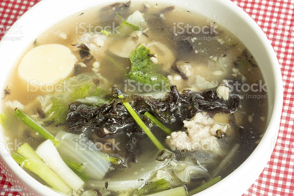 soup with seaweed and minced pork royalty-free stock photo