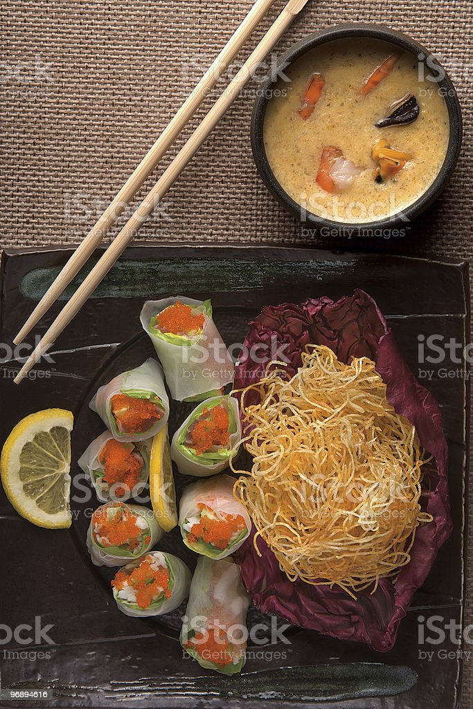 Soup with shrimps royalty-free stock photo