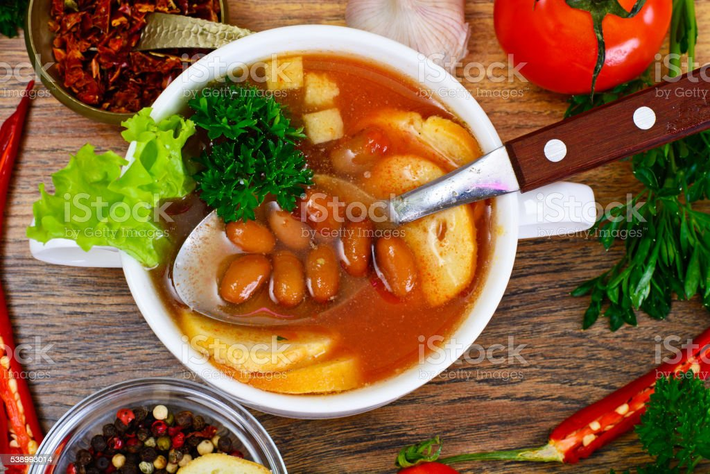 Soup with Tomato and Bean stock photo