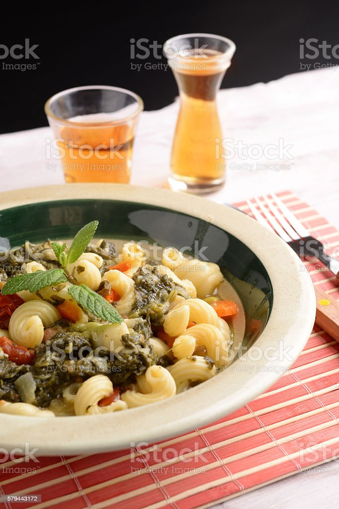 Soup with vegetables and pasta stock photo