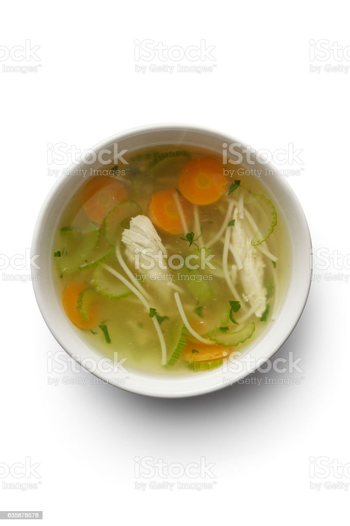 Soups: Chicken Soup Isolated on White Background stock photo