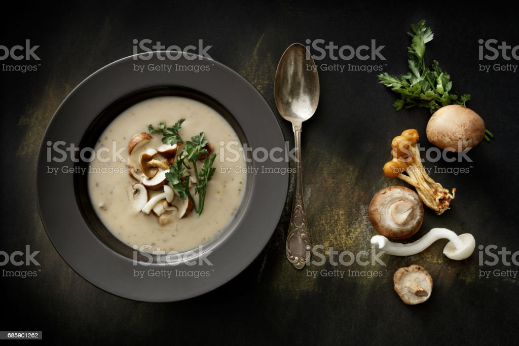 Soups: Mushroom Soup Still Life stock photo