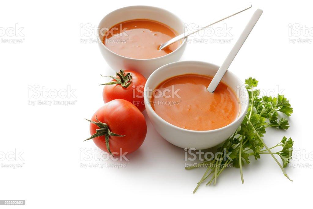 Soups: Tomato Soup Isolated on White Background stock photo