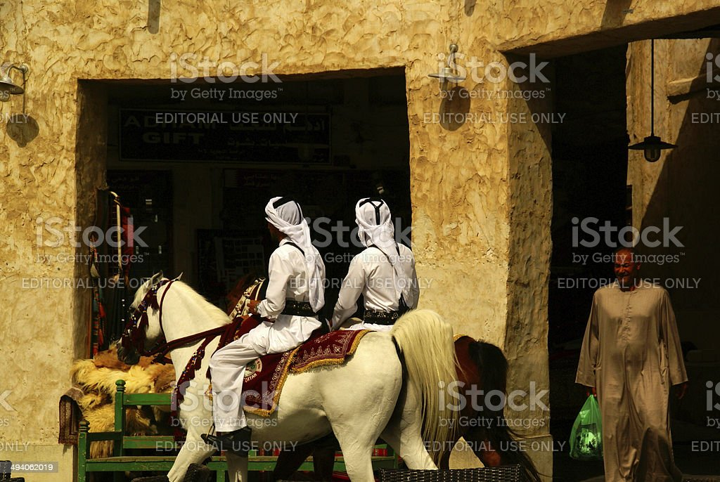 Souq Waqif,Patrols on Horseback,Doha stock photo