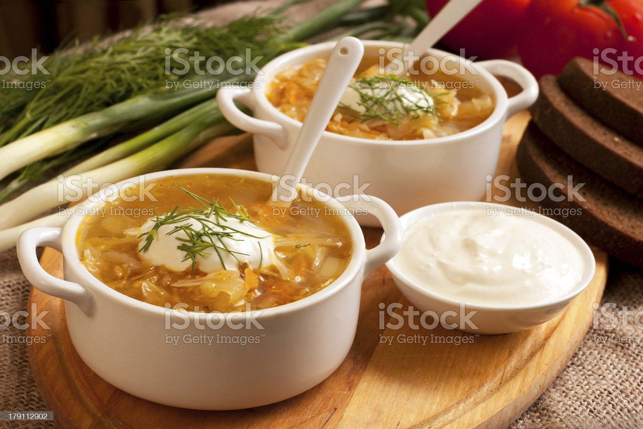 Sour cabbage soup royalty-free stock photo